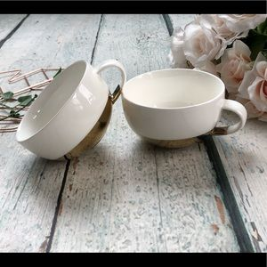 Set of 2 espresso mugs coffee cups gold dip white